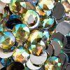 Acrylic Round Flat Back Rhinestones 20mm Yellow Aurora Borealis 200pcs/bag